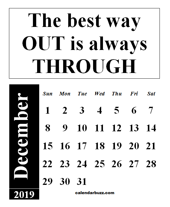 December 2019 Calendar With Quotes And Sayings
