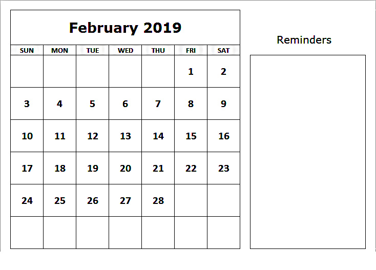 Feb 2019 Calendar With Notes