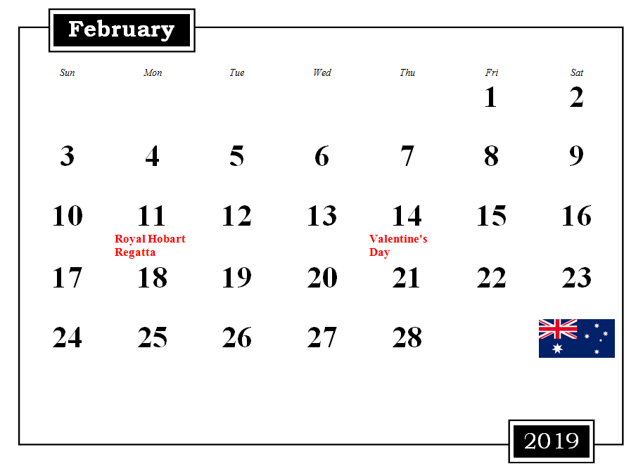 February 2019 Australia Calendar With Holidays