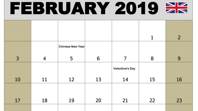 February 2019 Calendar Australia With Holidays