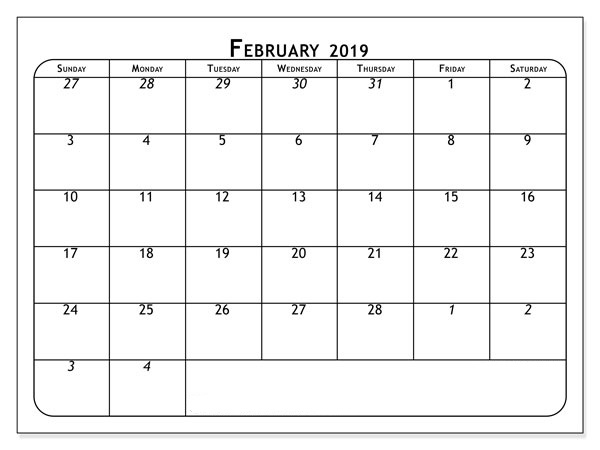 February 2019 Calendar Free Download