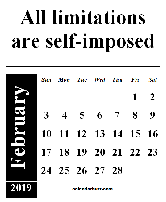 February 2019 Calendar With Quotes And Sayings