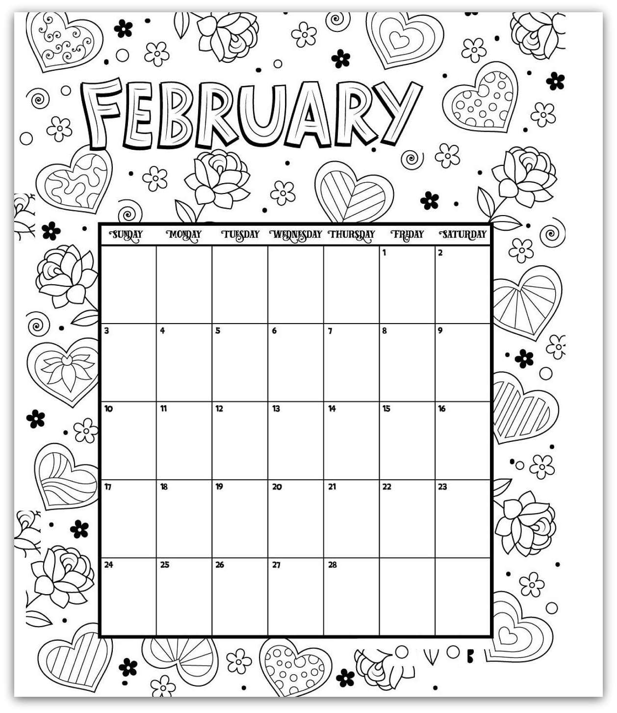 February 2019 Coloring Page Printable Calendar
