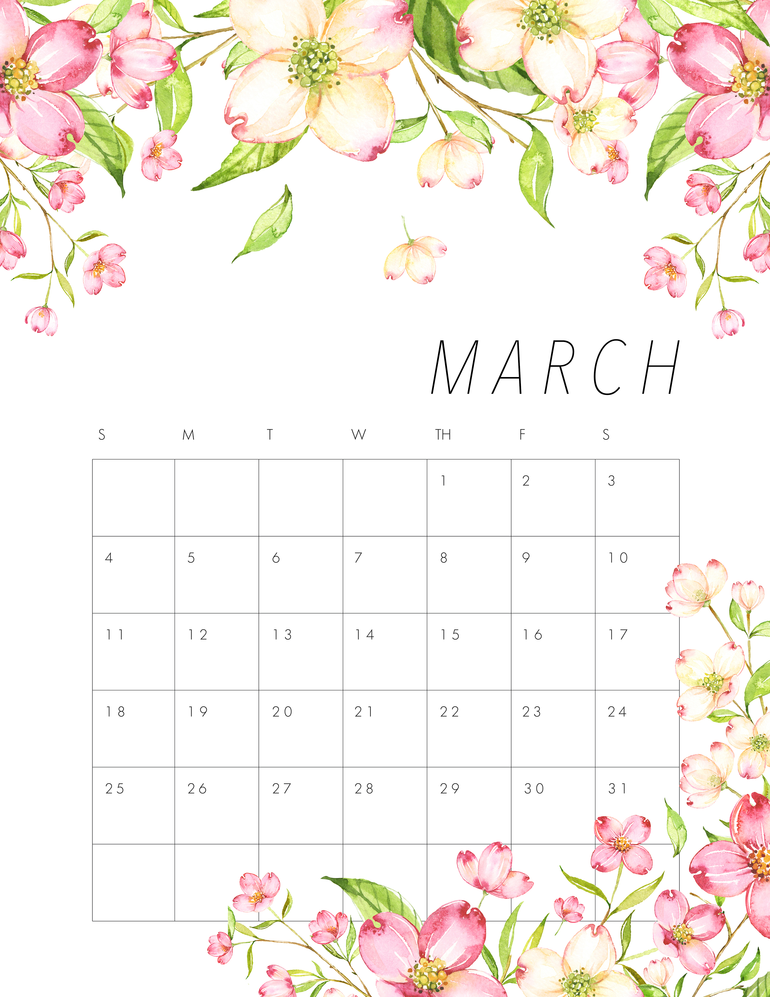 Floral Wall Calendar March 2019