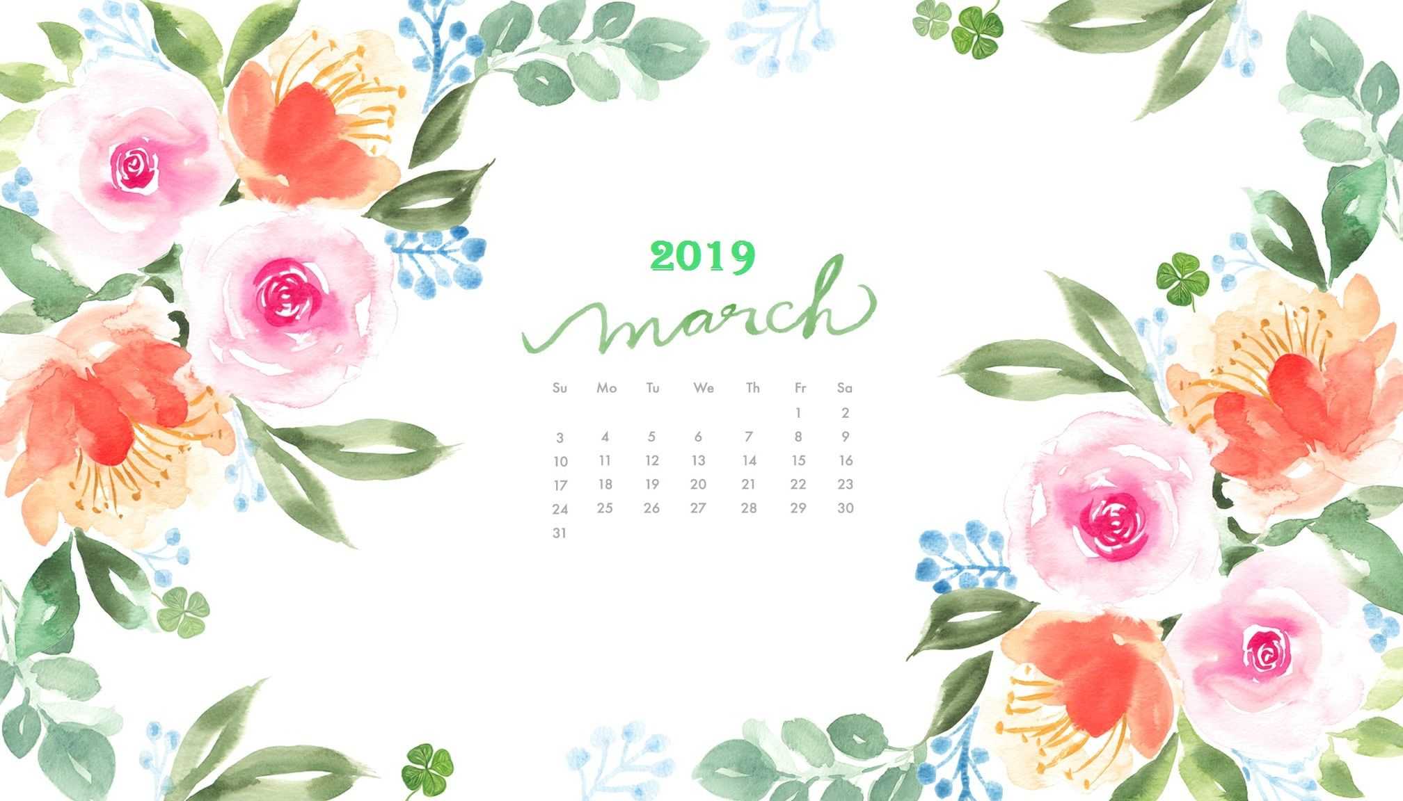 Florl March 2019 Desk Calendar Wallpaper