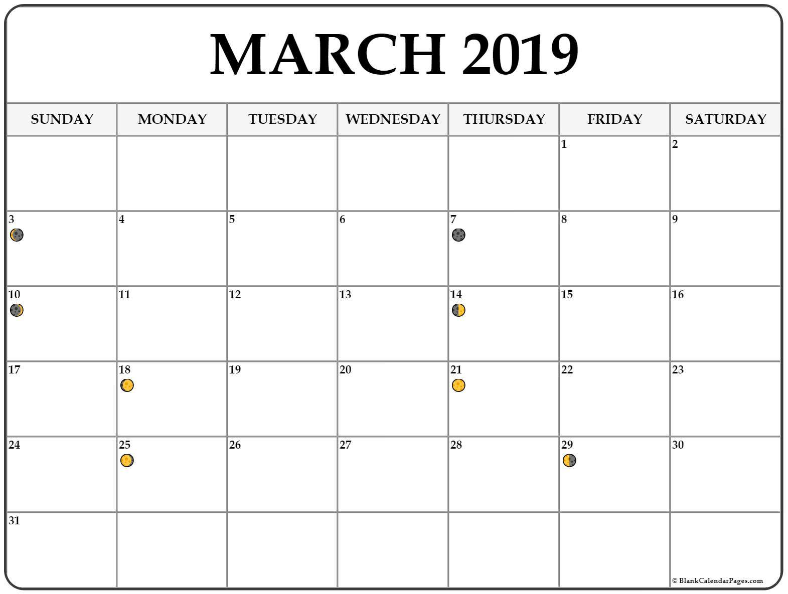 Full Moon Phases March 2019 Calendar