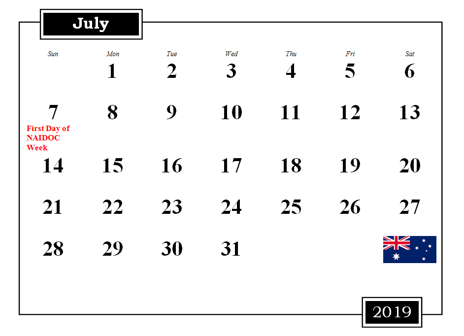 July 2019 Australia Calendar With Holidays