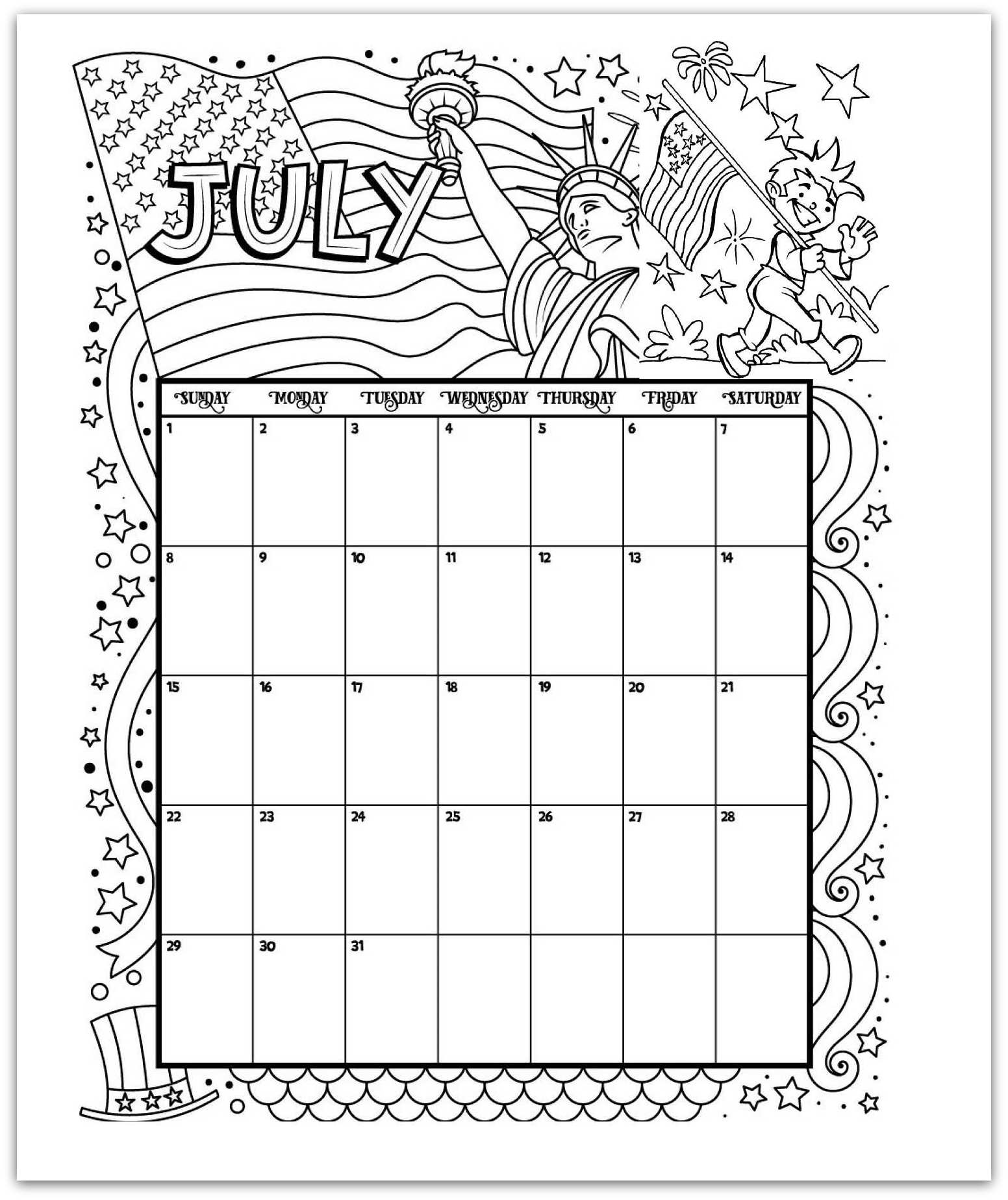 July 2019 Coloring Page Printable Calendar