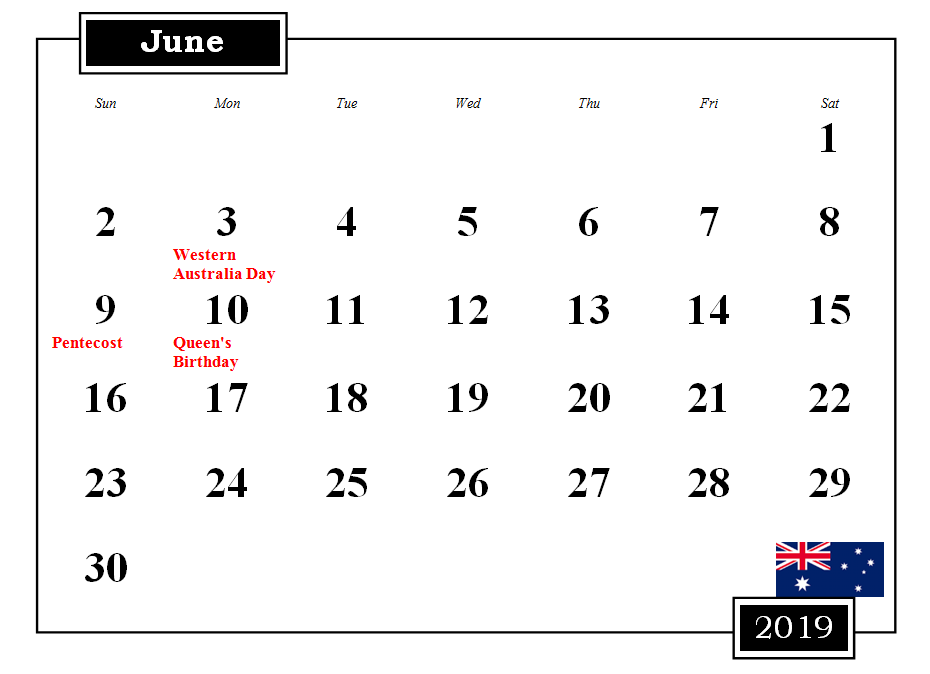 June 2019 Australia Calendar With Holidays