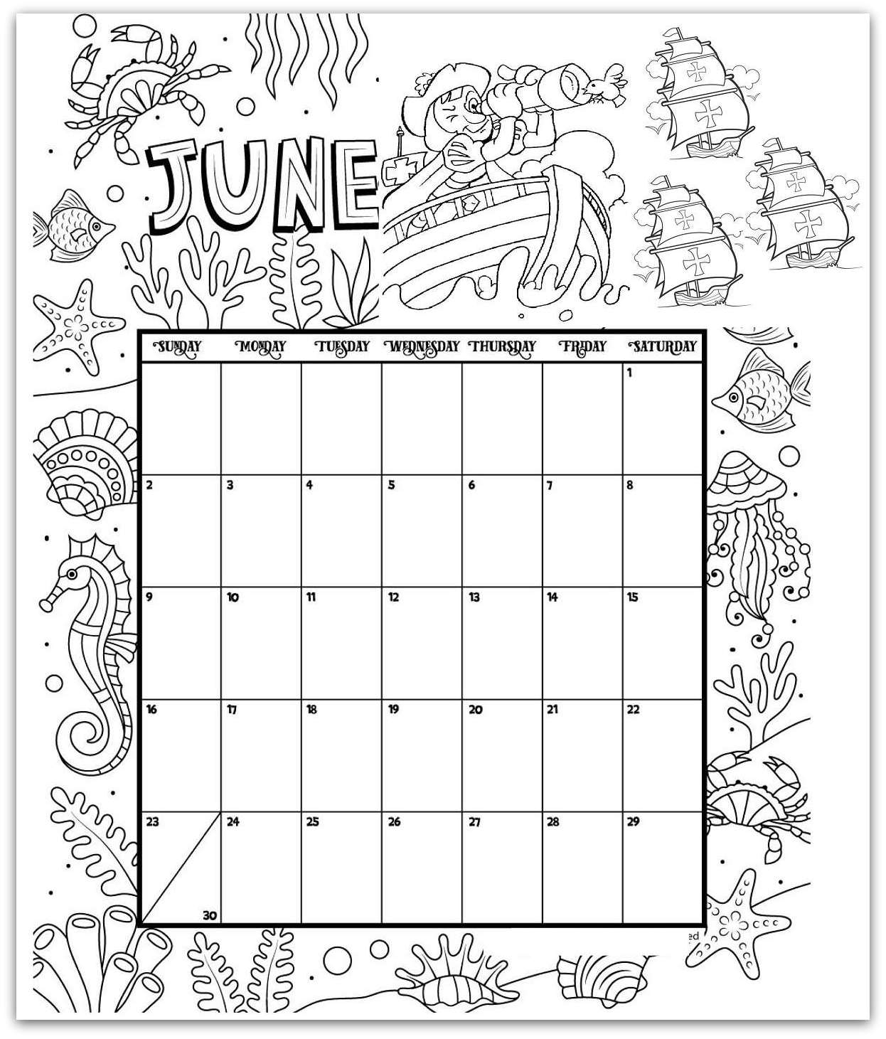 June 2019 Coloring Page Printable Calendar