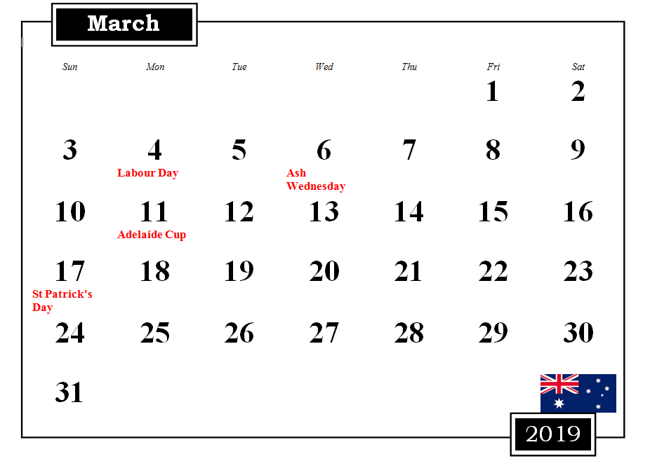 March 2019 Australia Calendar With Holidays