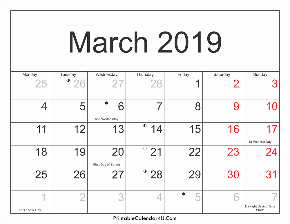 March 2019 Calendar UK With Federal Holidays