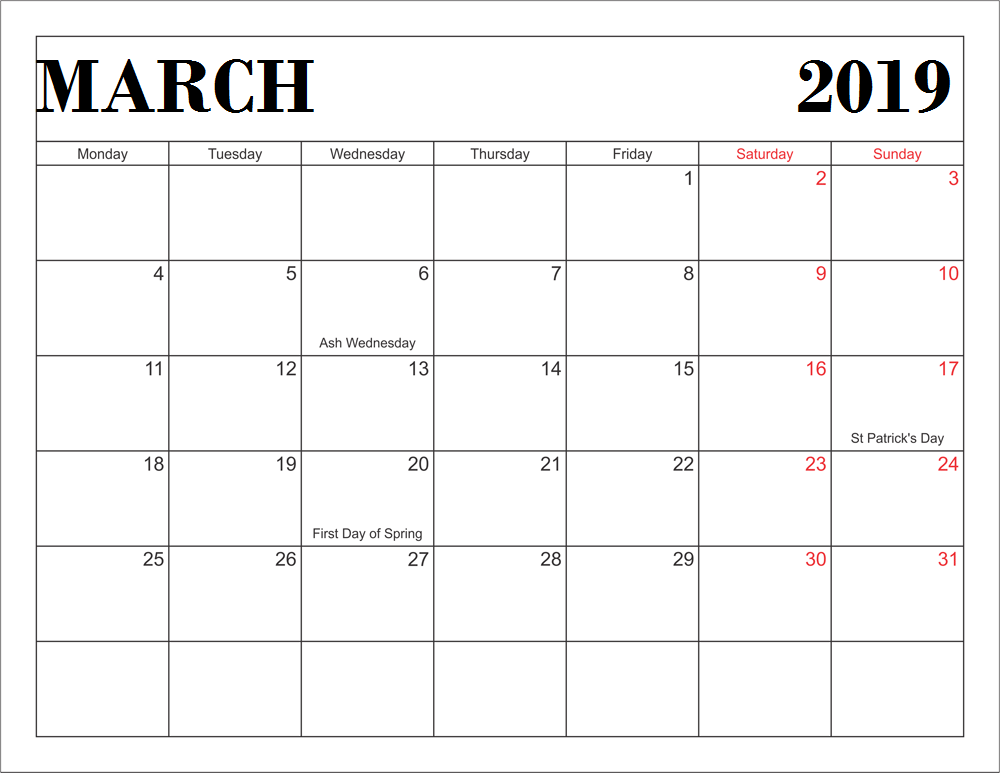 March 2019 Calendar UK with Public Holidays