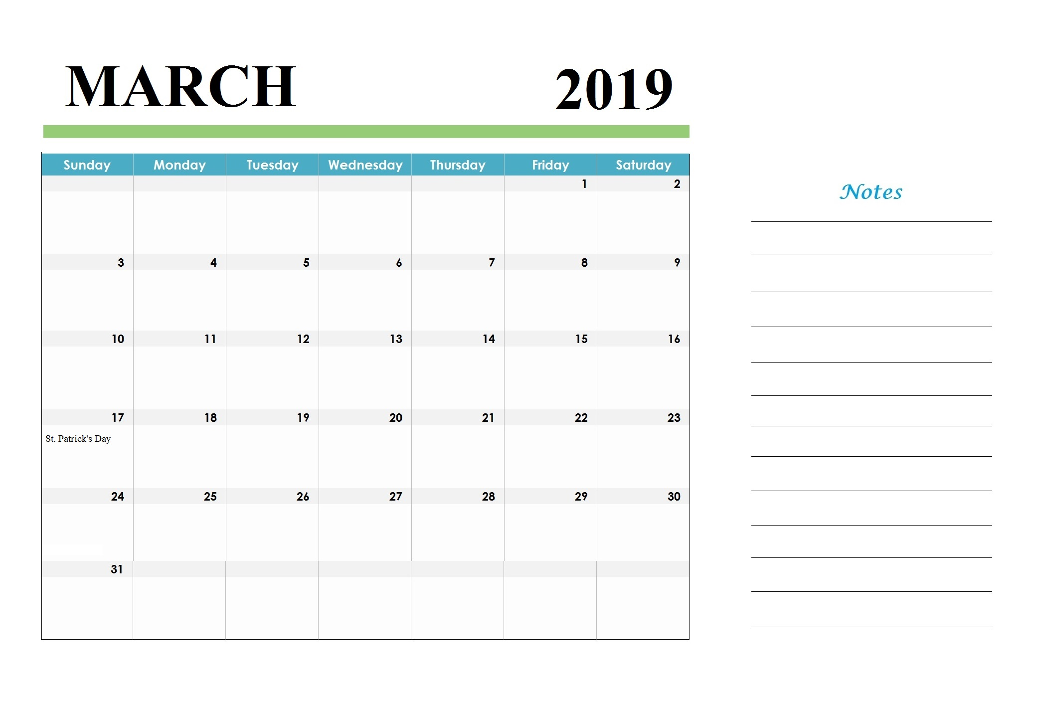 March 2019 Calendar USA Printable