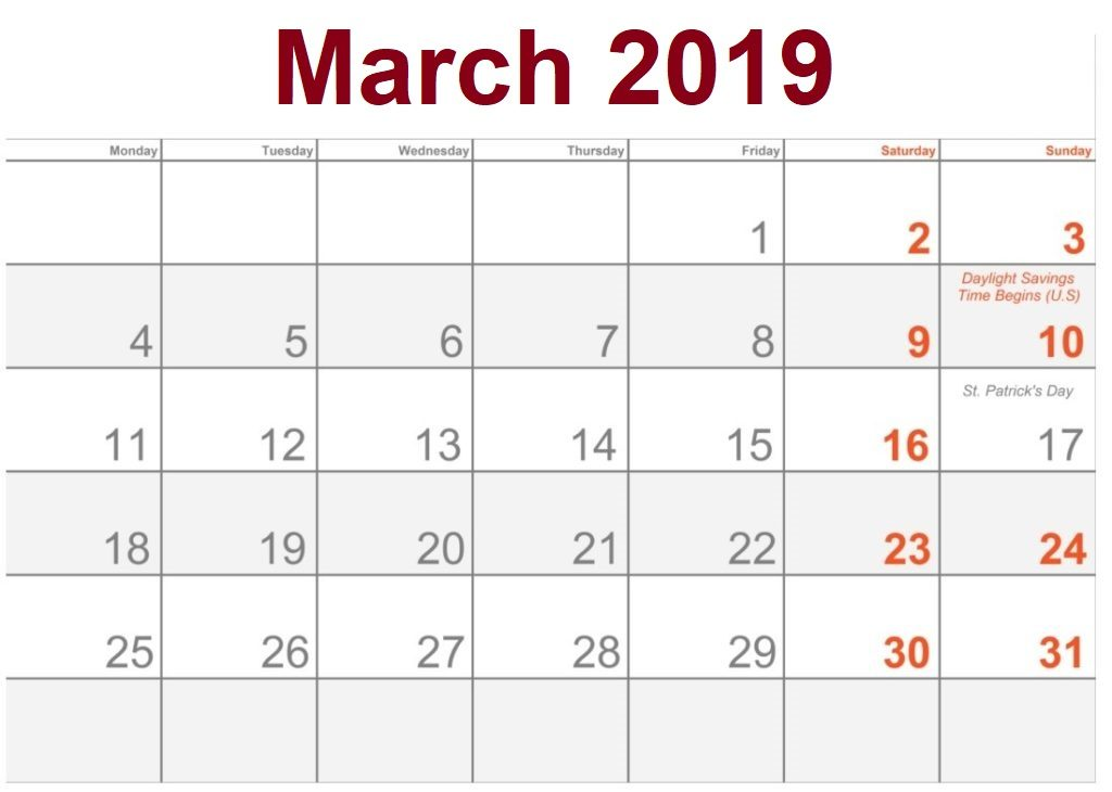 March 2019 Calendar USA With Public Holidays