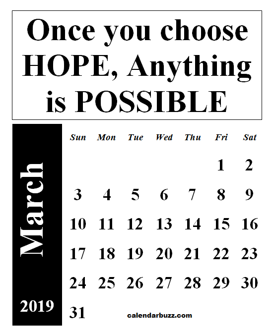 March 2019 Calendar With Quotes And Sayings