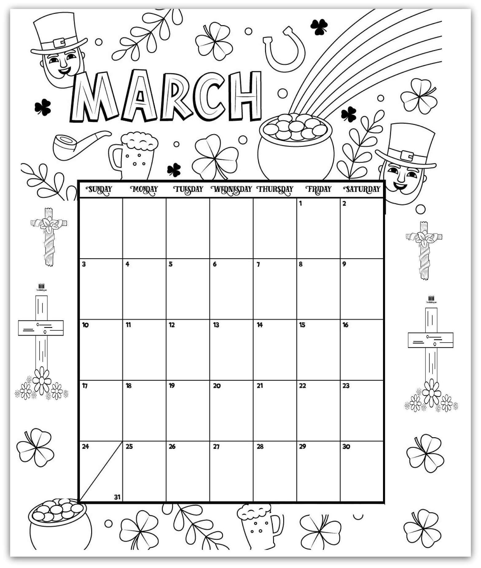 March 2019 Coloring Page Printable Calendar