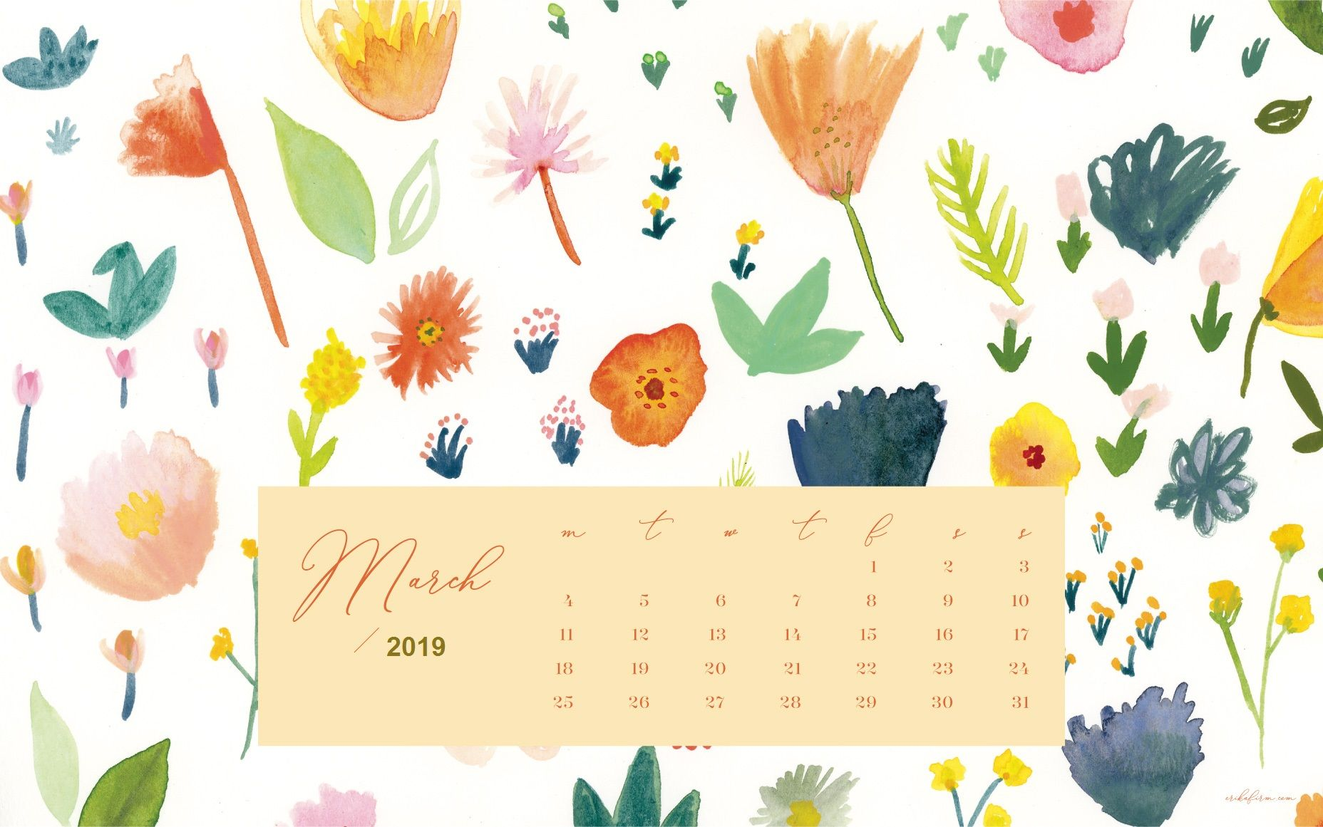 March 2019 Desktop Calendar Floral Background