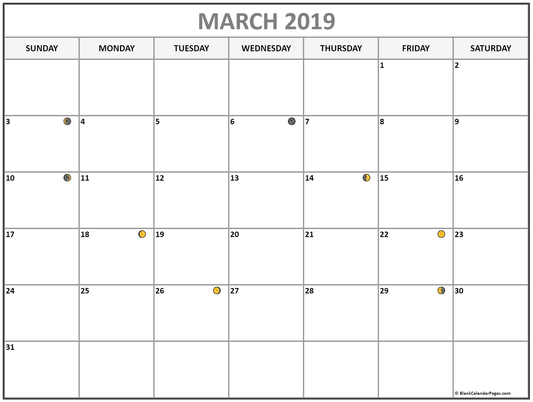 March 2019 Calendar Moon Phases Calendar