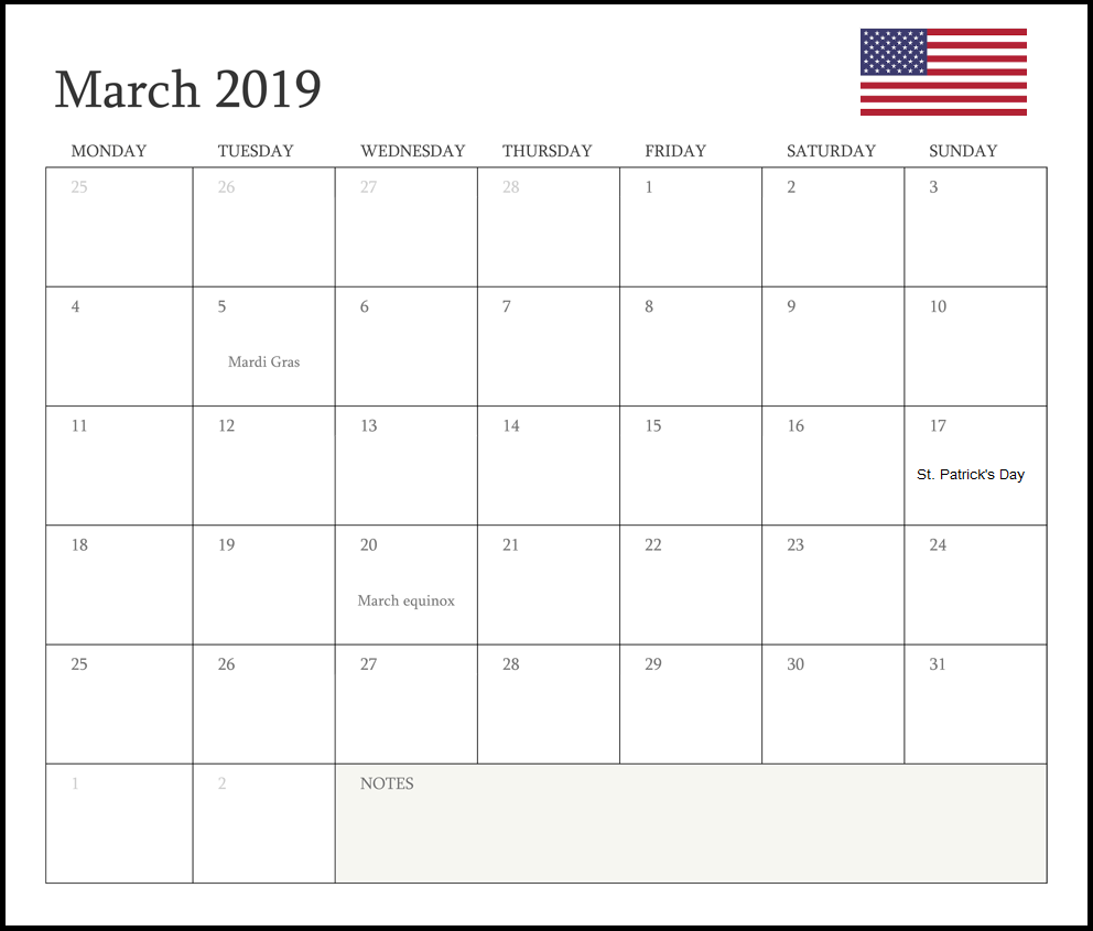 March 2019 UK Holidays Calendar