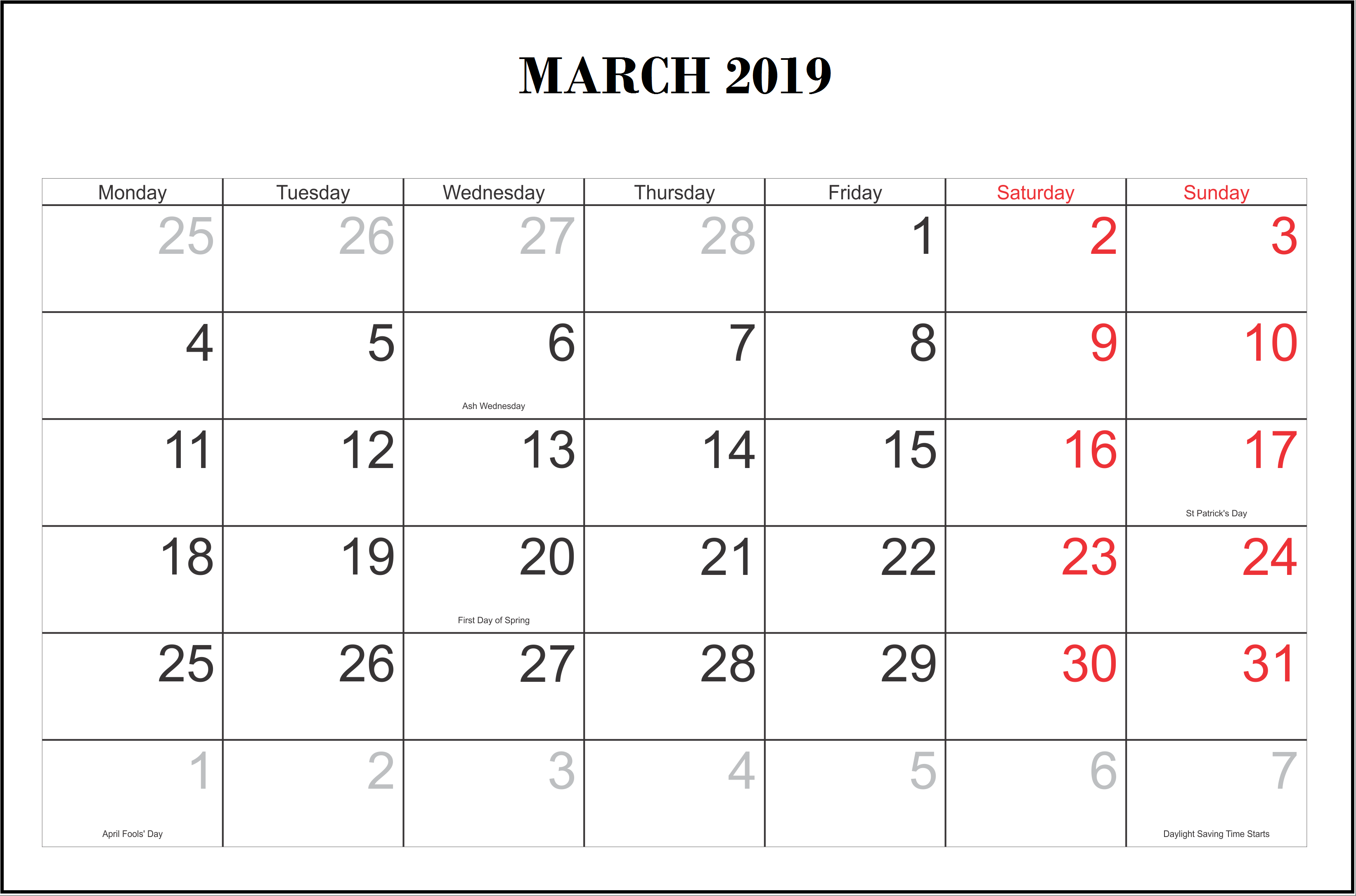 March 2019 USA Holidays Calendar