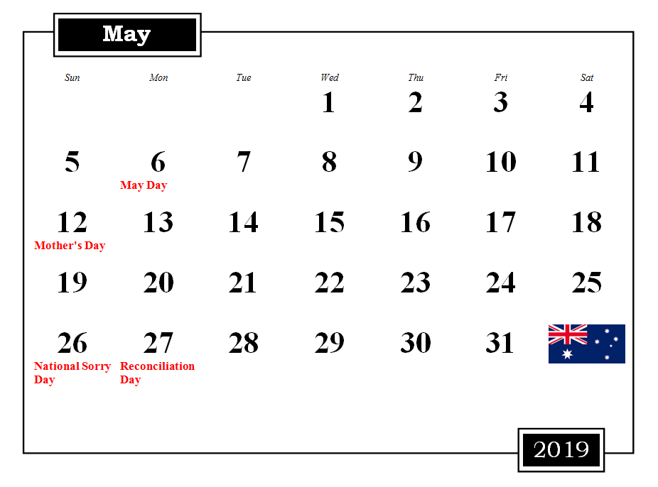 May 2019 Australia Calendar With Holidays