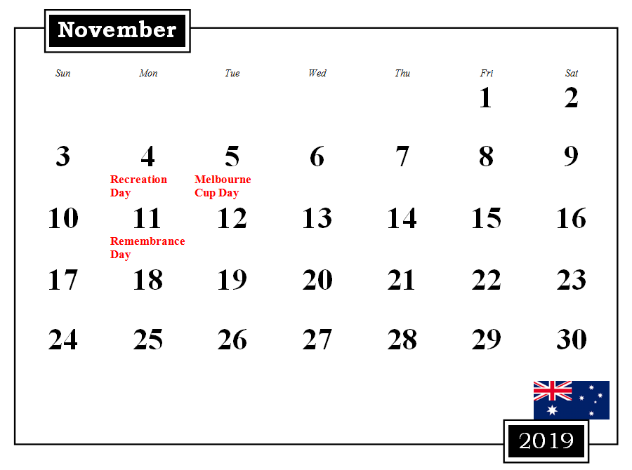 November 2019 Australia Calendar With Holidays