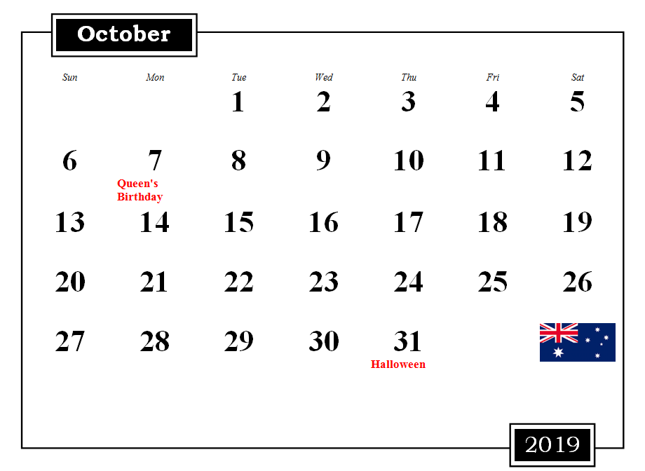 October 2019 Australia Calendar With Holidays