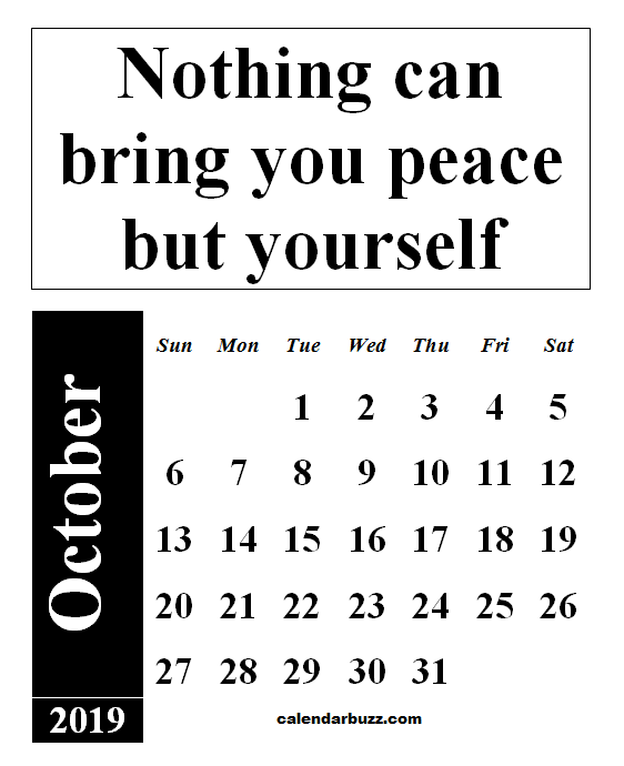 October 2019 Calendar With Quotes And Sayings