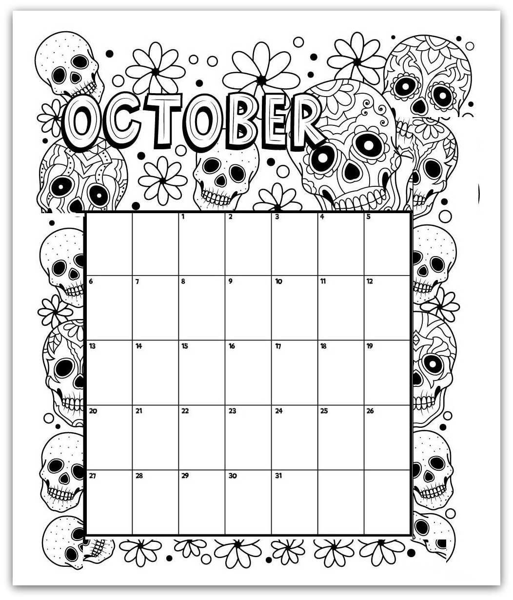 October 2019 Coloring Page Printable Calendar
