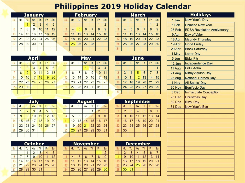 Philippines 2019 Calendar With Holidays