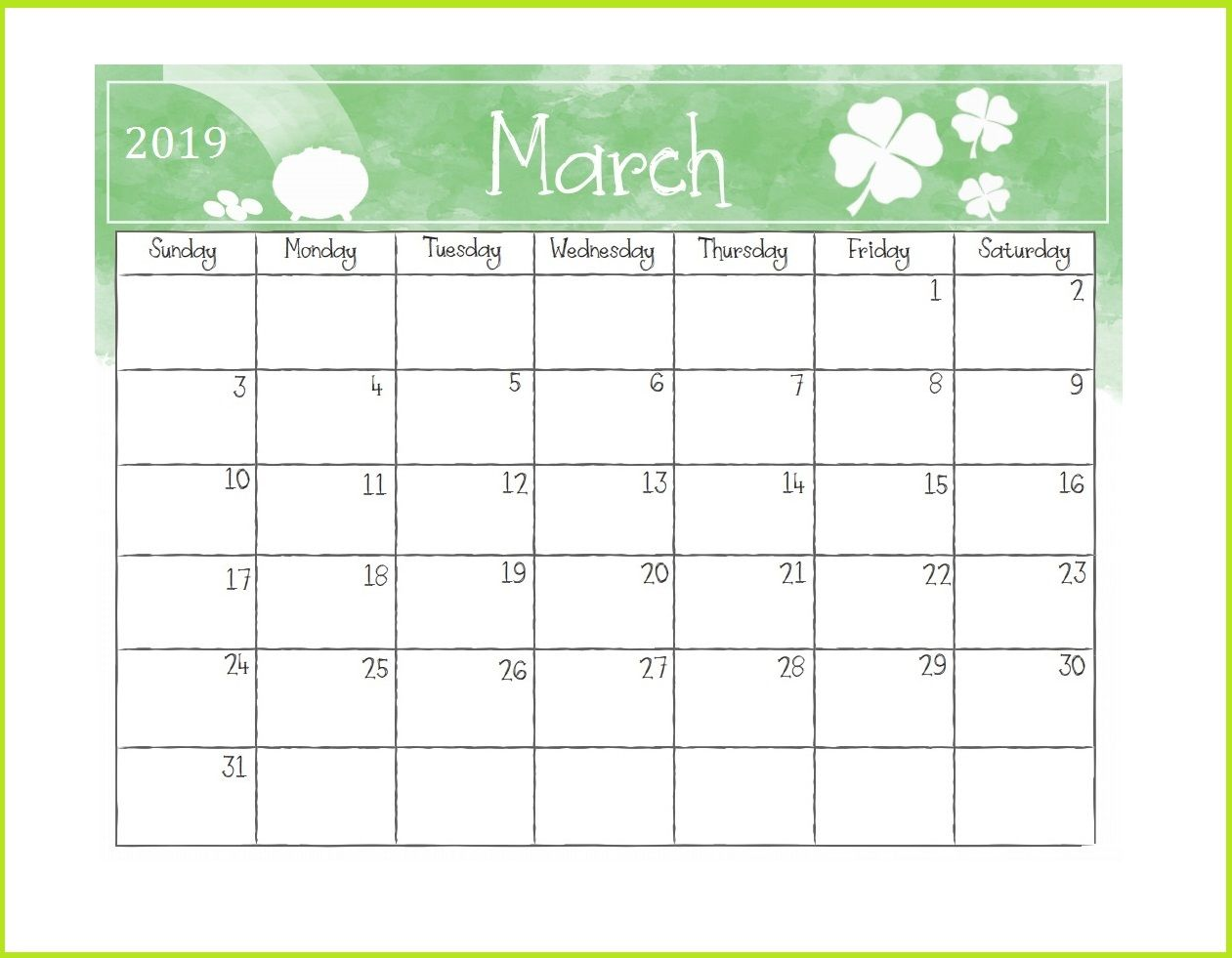 Printable March 2019 Desk Calendar