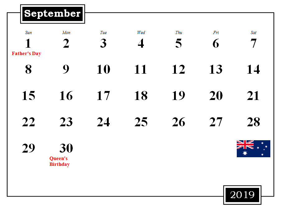 September 2019 Australia Calendar With Holidays