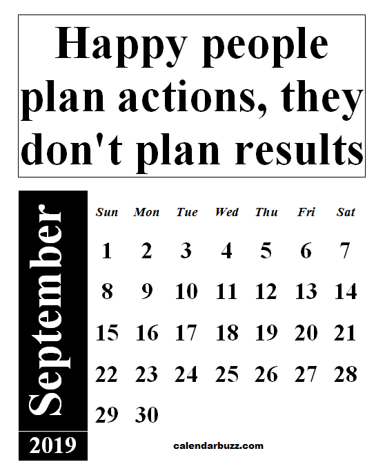 September 2019 Calendar With Quotes And Sayings
