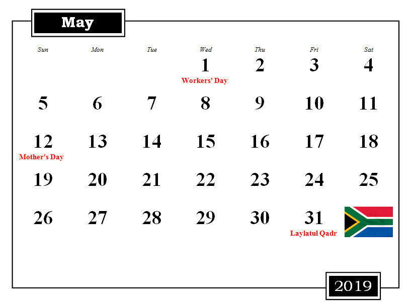 South Africa 2019 May Calendar