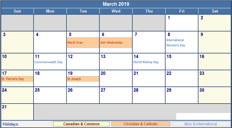 USA Holidays Calendar March 2019