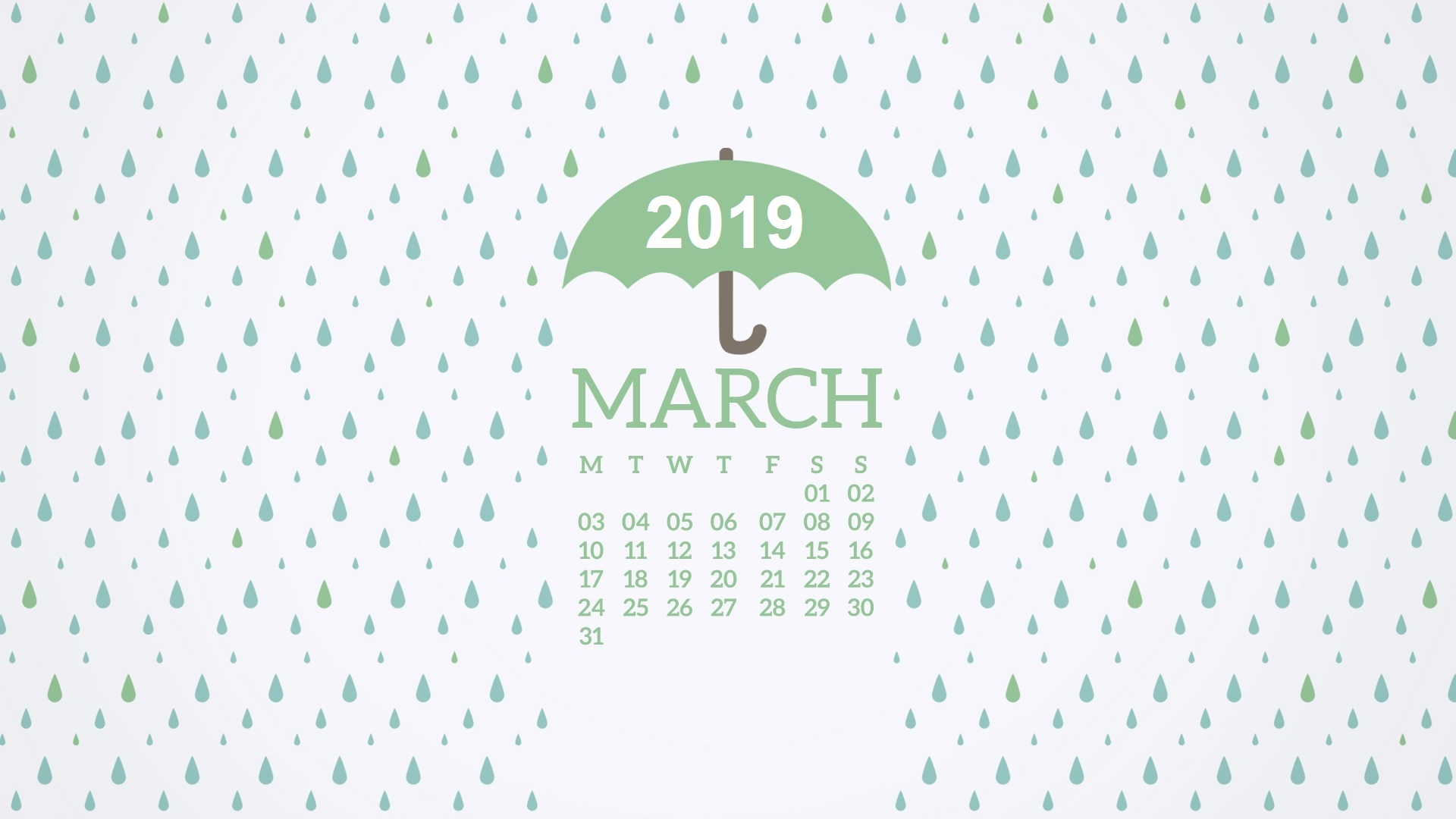 2019 March Calendar Wallpaper