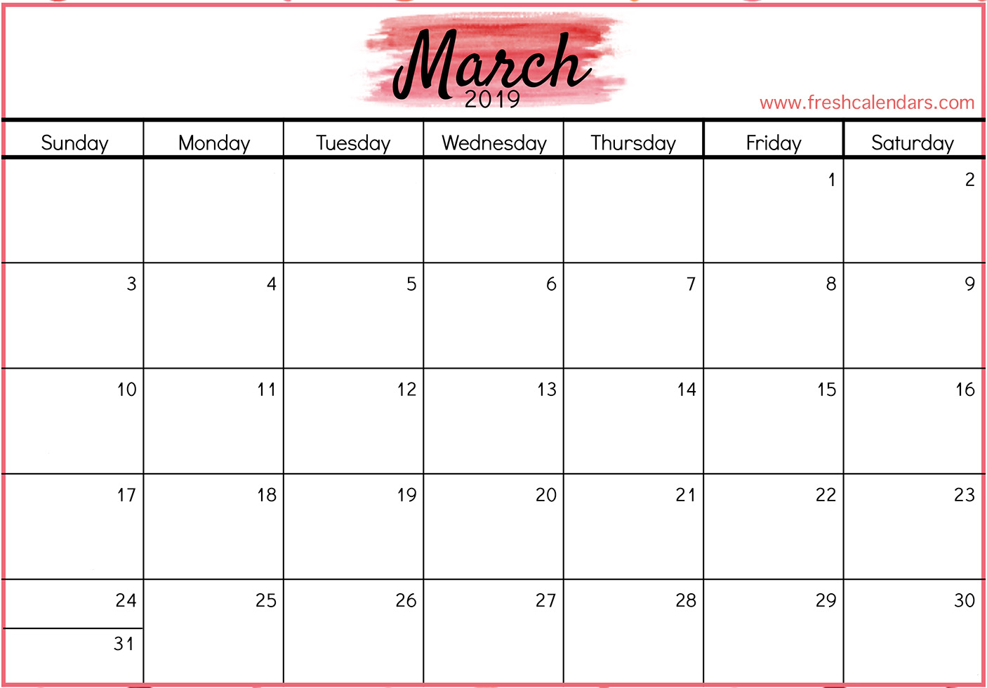 2019 March Calendar With Holidays