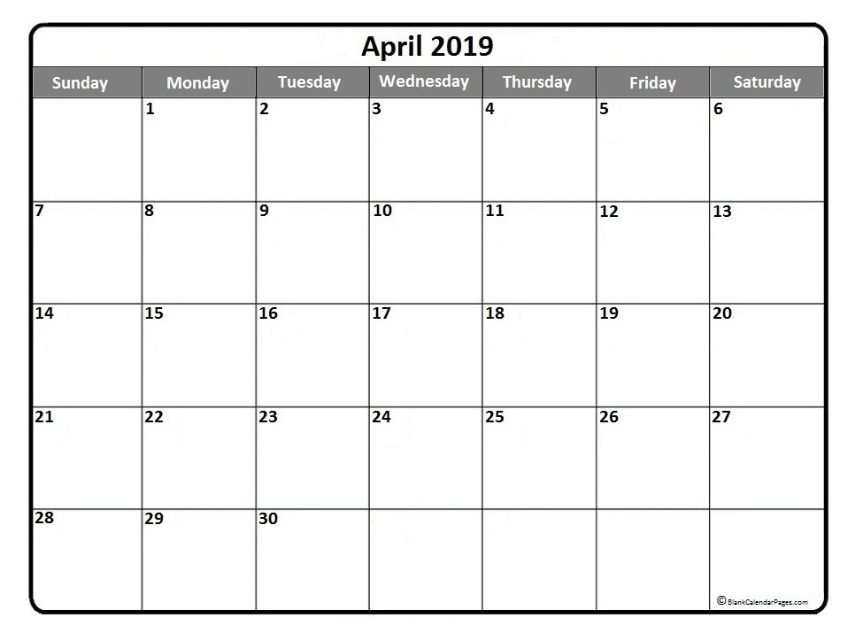 April 2019 Calendar Printable Cute