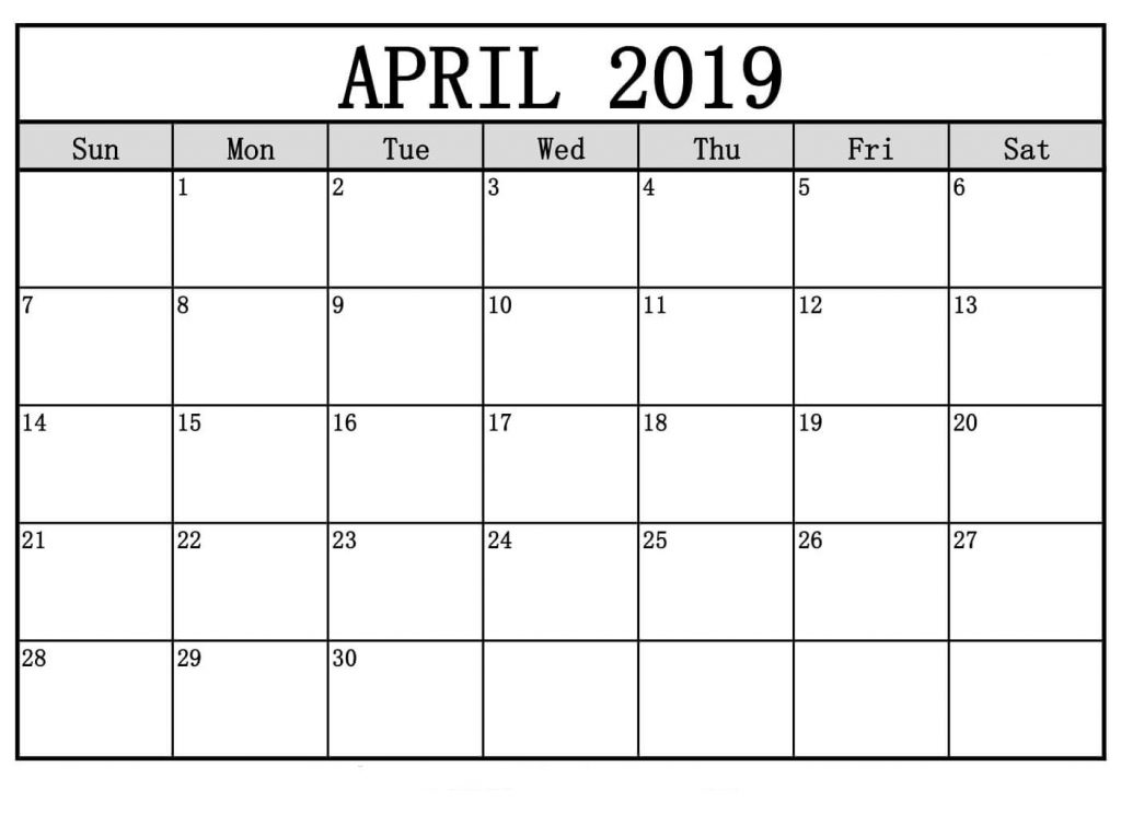 April 2019 Calendar Printable Monday Start