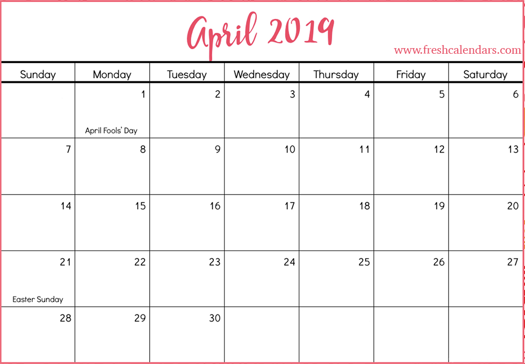 April 2019 Calendar Printable With Holidays