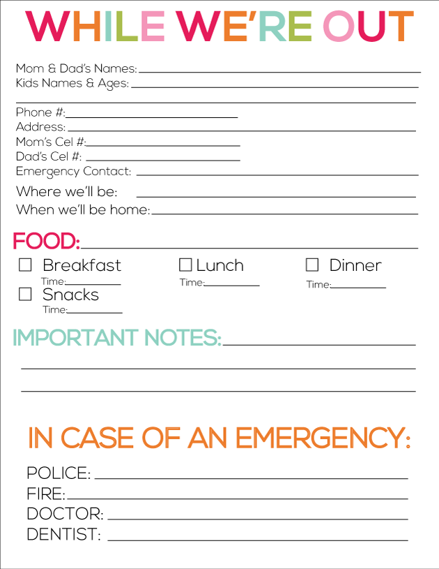 Babysitter Information Sheet Printable