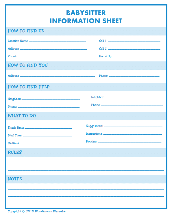 Babysitter Information Sheet Template