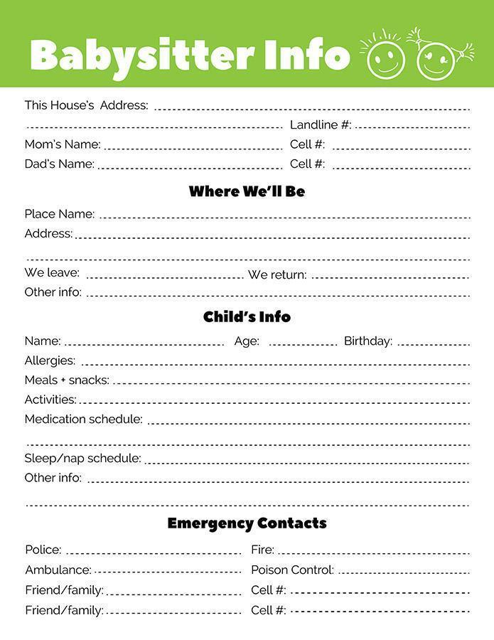 Babysitter Information Sheet with Notes