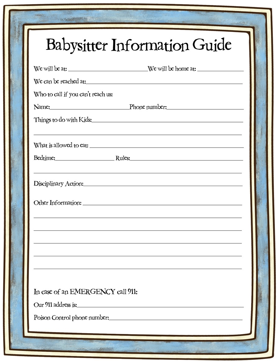 Babysitter Job Information Sheet