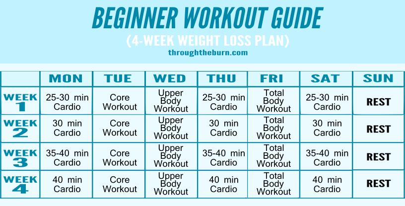 weekly workout plan for men beginners and women