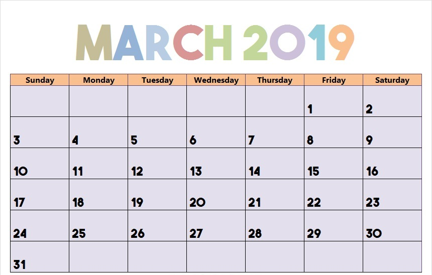 Calendar 2019 March with Notes