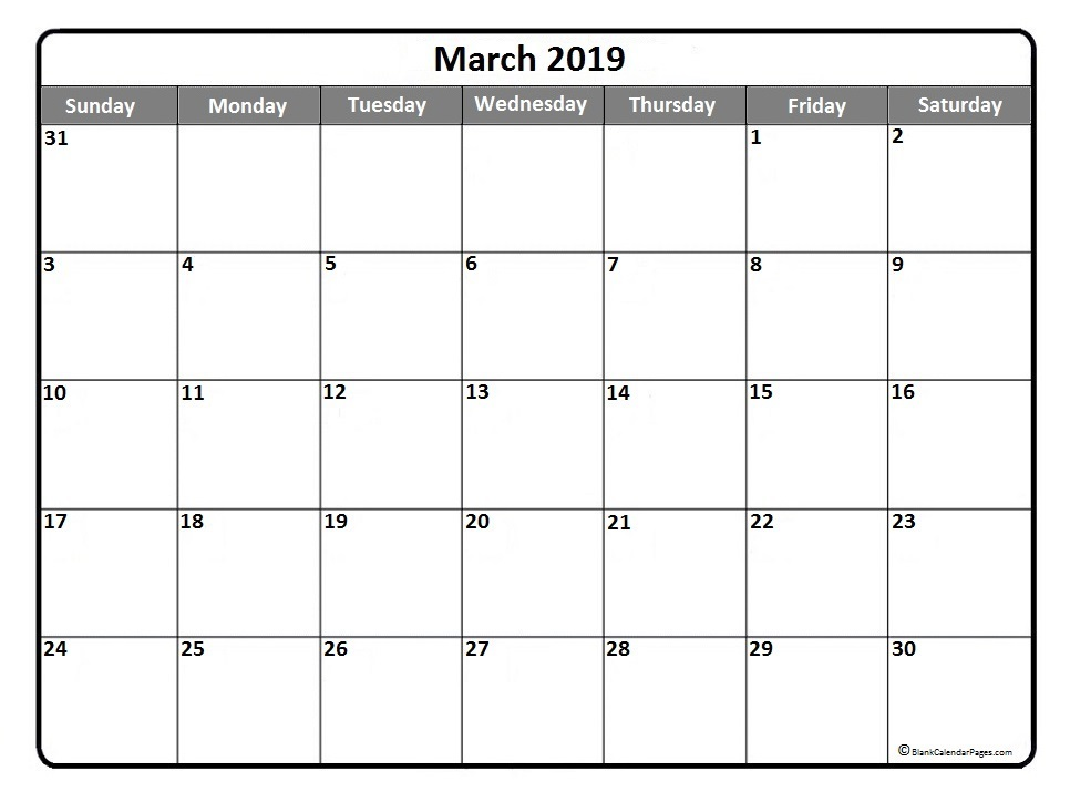 Calendar For March 2019 Excel