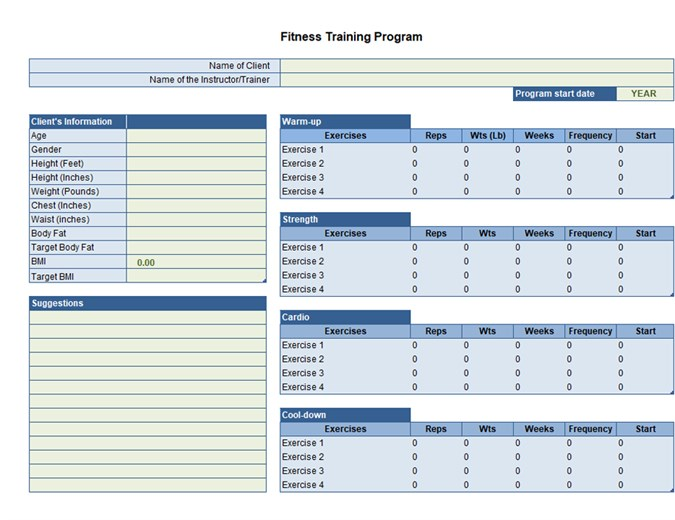 Exercise Planner Excel