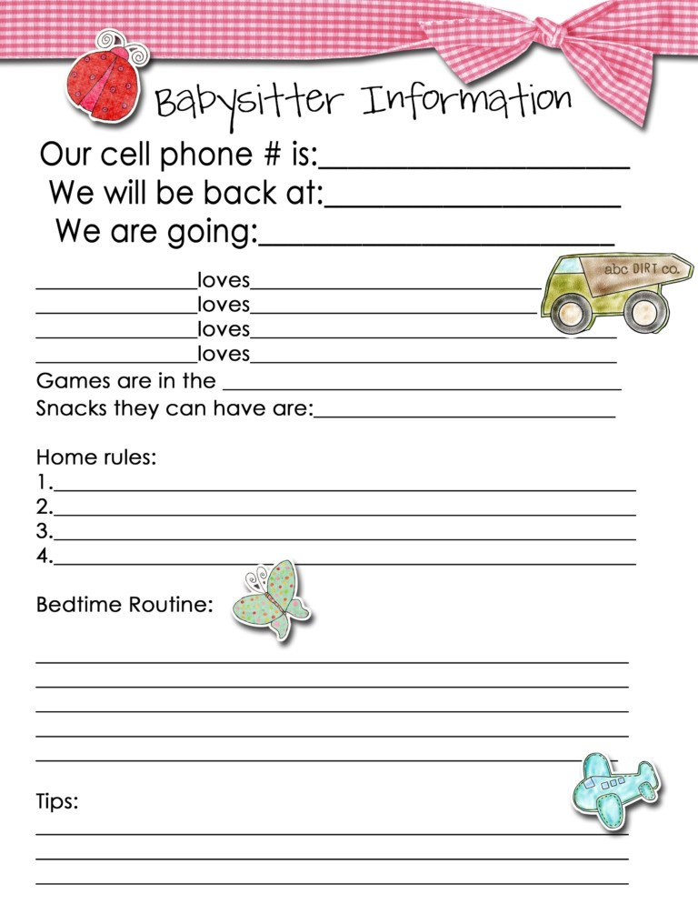 Free Printable Babysitter Information Sheet